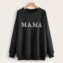 Letter Print Dop Shoulder Sweatshirt