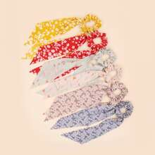6pcs Ditsy Floral Pattern Scrunchie Scarf