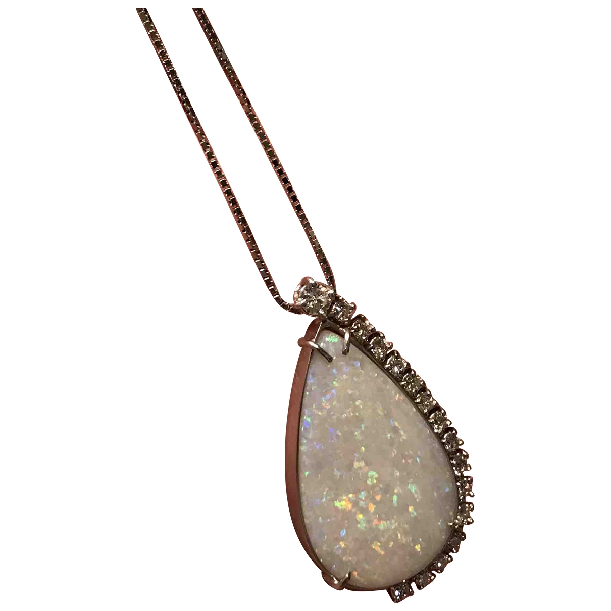 Colgante Opale de Oro blanco Non Signe / Unsigned
