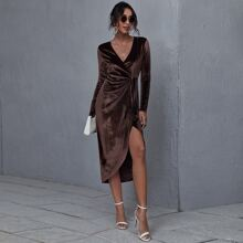 Samt Kleid mit V-Ausschnitt, Wickel Design und Knoten
