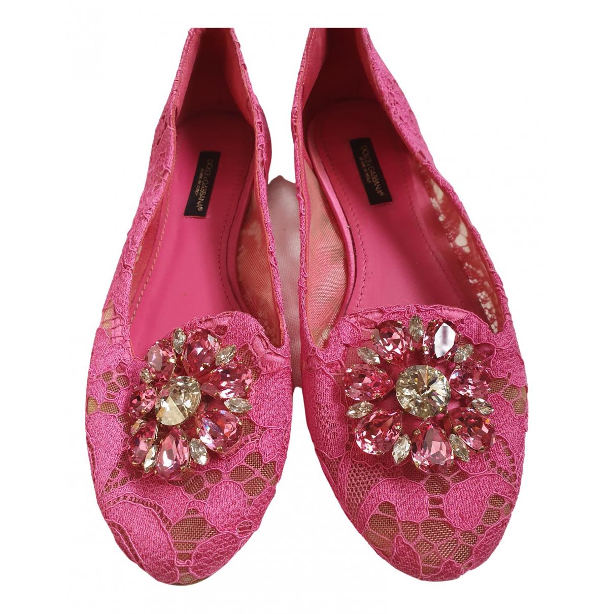 Dolce & Gabbana - Ballerines   pour femme en toile - rose