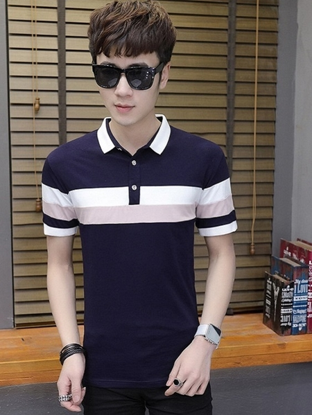 Yoins Men Summer Casual Stripes Color Block Cotton Polos