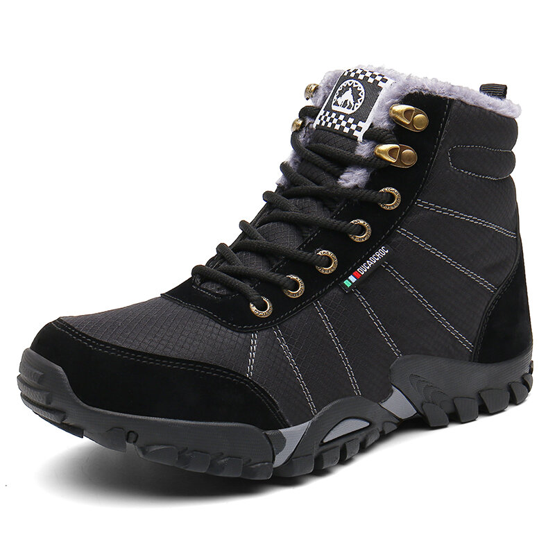 Men Waterproof Cloth Non Slip Plush Lining Outdoor Casual Hiking Boots
