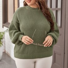 Plus Mock Neck Ribbed Knit Bishop Sleeve Sweater