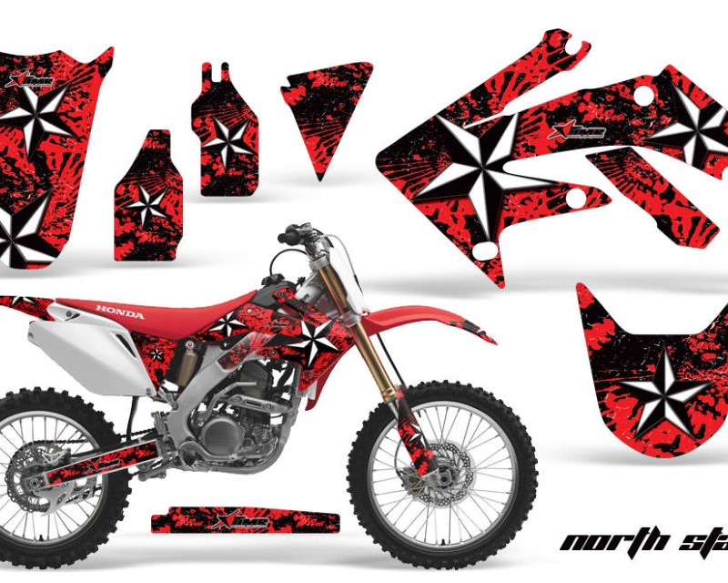 AMR Racing Dirt Bike Graphics Kit Decal Sticker Wrap For Honda CRF250R 2004-2009áNORTHSTAR RED