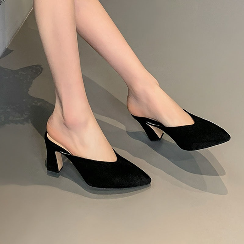 Ericdress Closed Toe Slip-On Chunky Heel Plain Slippers