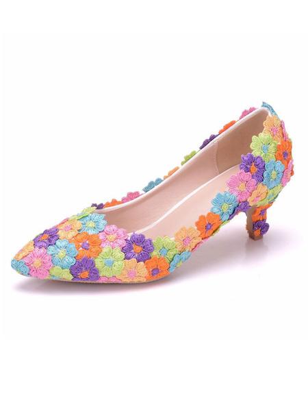 Milanoo Zapatos de novia de PU Zapatos de Fiesta de tacon de kitten Zapatos dividido Zapatos de boda de puntera puntiaguada 5cm con perlas
