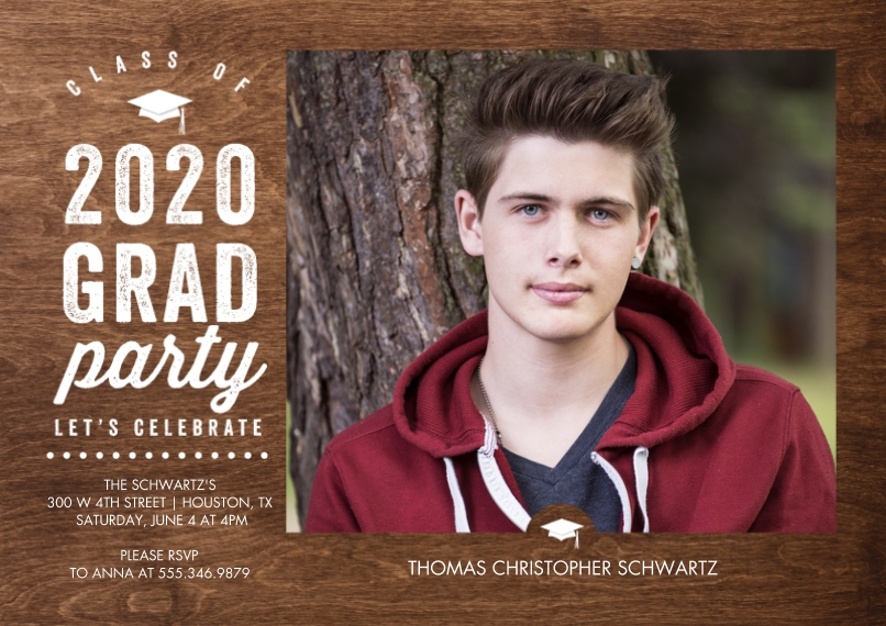 Graduation Invitations Flat Glossy Photo Paper Cards with Envelopes, 5x7, Card & Stationery -2020 Grad Party Celebrate by Tumbalina