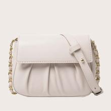 Minimalist Ruched Flap Crossbody Bag