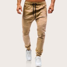 Pantalones conicos de hombres con cordon fruncido