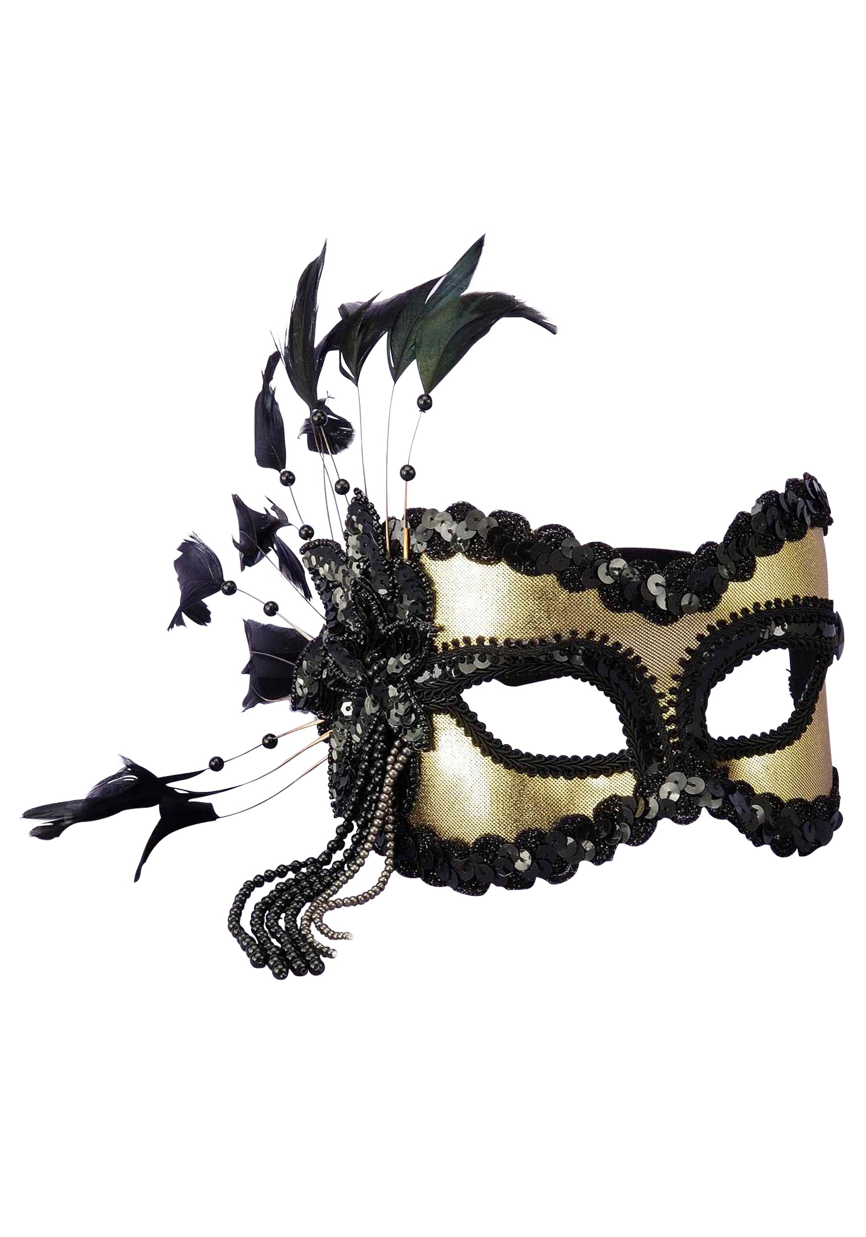 Women's Black and Gold Sequin and Feather Mardi Gras Mask