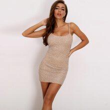 Pearl Beaded Sequin Bodycon Cami Dress