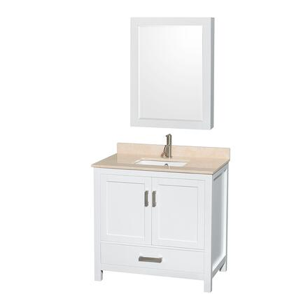 WCS141436SWHIVUNSMED 36 in. Single Bathroom Vanity in White  Ivory Marble Countertop  Undermount Square Sink  and Medicine