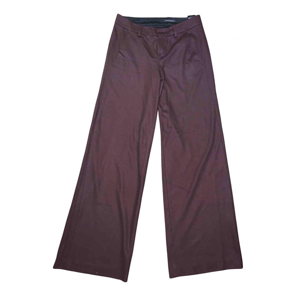 Strenesse N Burgundy Wool Trousers for Women 38 FR