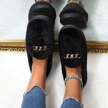 Flauschige Loafers mit Kette Dekor