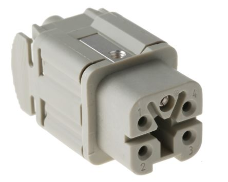 Epic Contact H-A Series Cable Mount Connector Insert, Female, 4 Way, 10A, 600 V