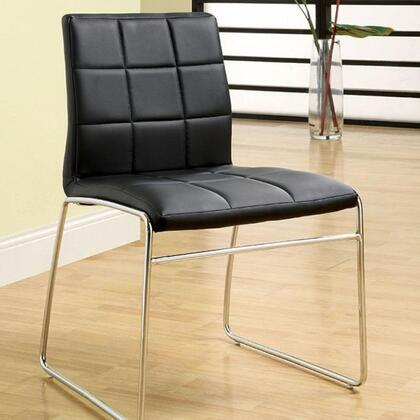 Oahu Collection CM8320WH-SC-2PK Set of (2) Side Chair with Bold Chrome Legs and Padded Leatherette in