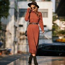 High Neck Drop Shoulder Longline Sweater Dress
