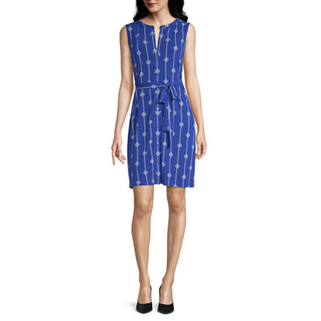 Liz Claiborne Sleeveless Shirt Dress, Xx-large , Blue