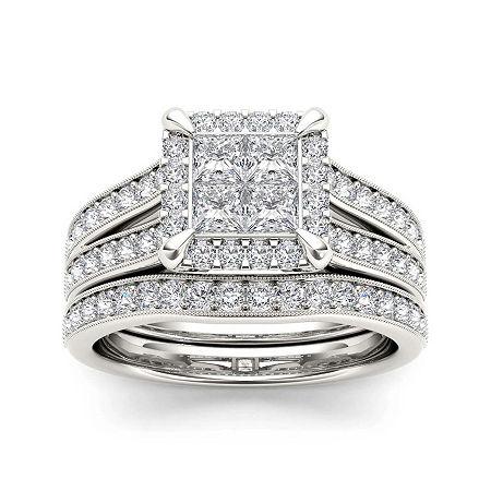 1 1/2 CT. T.W. Diamond 14K White Gold Bridal Set, 8 , No Color Family