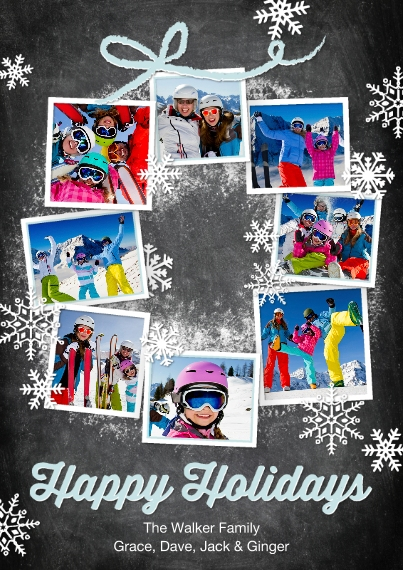 Holiday Photo Cards 5x7 Cards, Premium Cardstock 120lb with Rounded Corners, Card & Stationery -Holiday Snowflakes Photo Wreath
