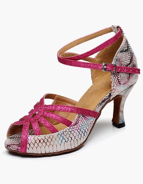 Milanoo Zapatos de Mujer de Salon Baile 2020 Fuchsia Oscura de Brillo Dibujo de Serpiente Punta Reronda