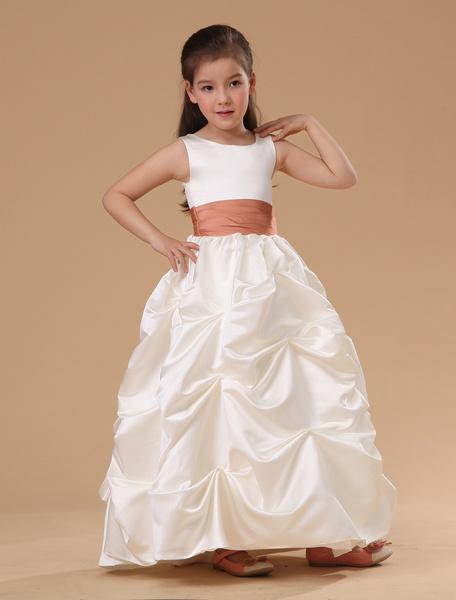 Milanoo Vestido de niña de las flores de saten blanco sin mangas con faja
