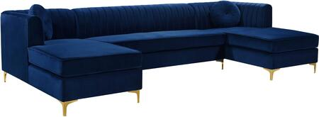 Graham Collection 661Navy-Sectional 3-Piece Sectional Sofa with Plush Velvet Upholstery  Channel Tufted Back and Pillows Included in