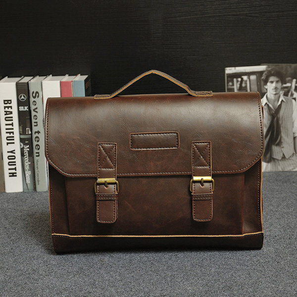 Men PU Leather Vintage Briefcase Classic Handbag