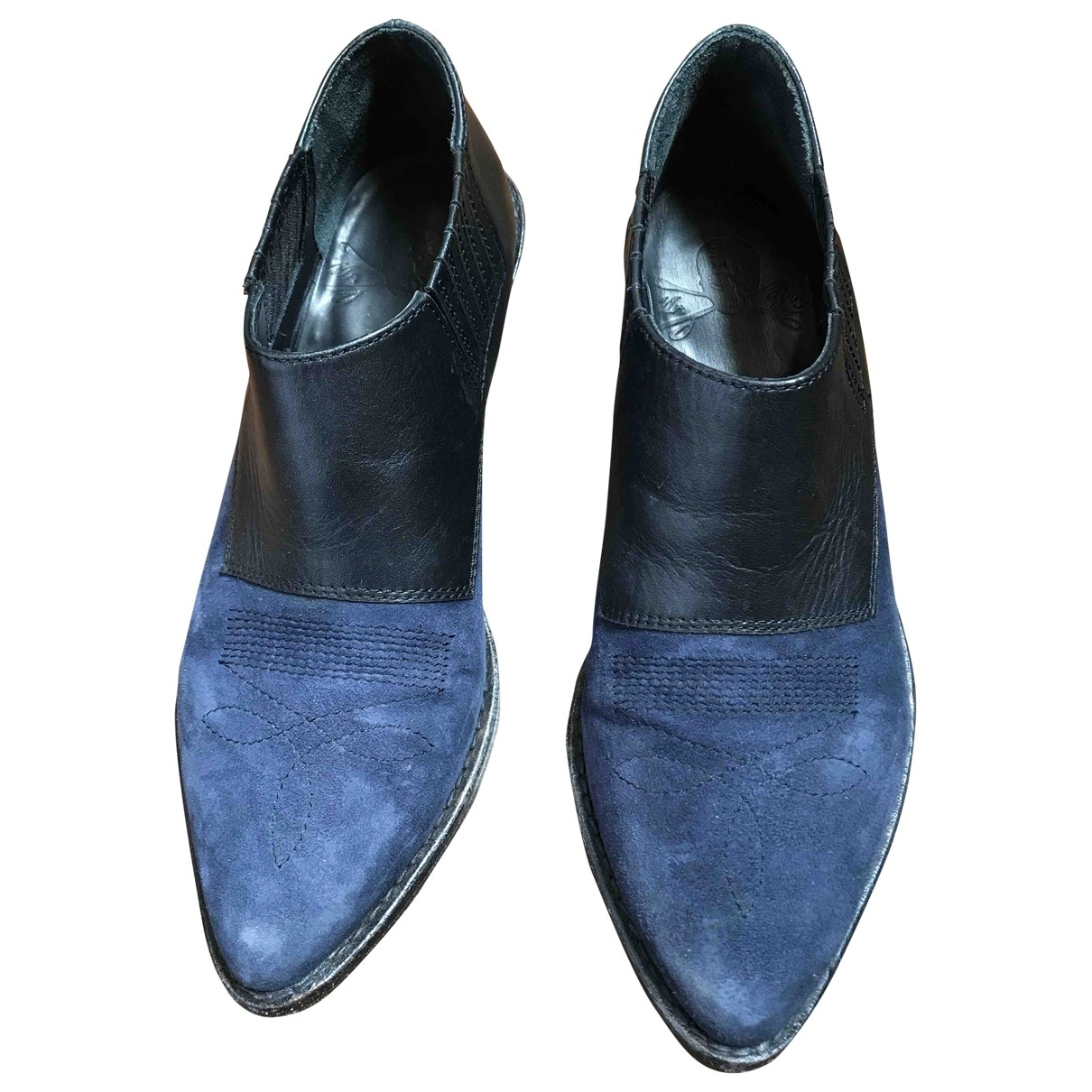 Non Signé / Unsigned \N Blue Leather Ankle boots for Women 37 IT