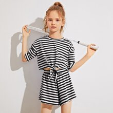 Girls Drop Shoulder Knot Hem Striped Top & Shorts Set