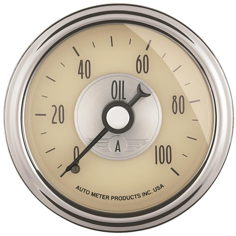 AutoMeter GAUGE; OIL PRESS; 2 1/16in.; 100PSI; MECH; PRESTIGE ANTQ. IVORY