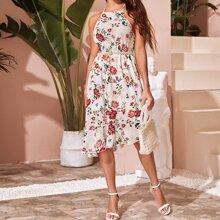 Kleid mit Neckholder, Perlen, Guertel, Raffungsaum und Blumen Muster