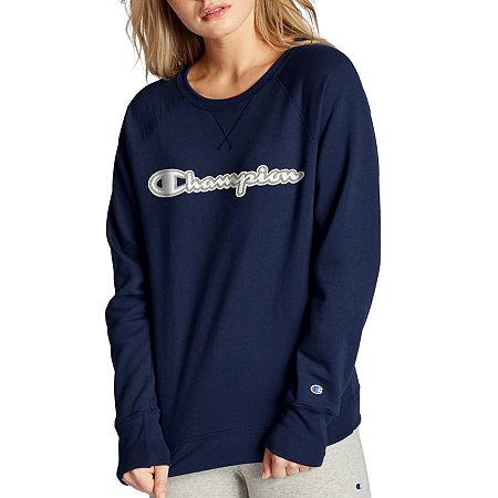 Champion Womens Crew Neck Long Sleeve Sweatshirt, Medium , Blue