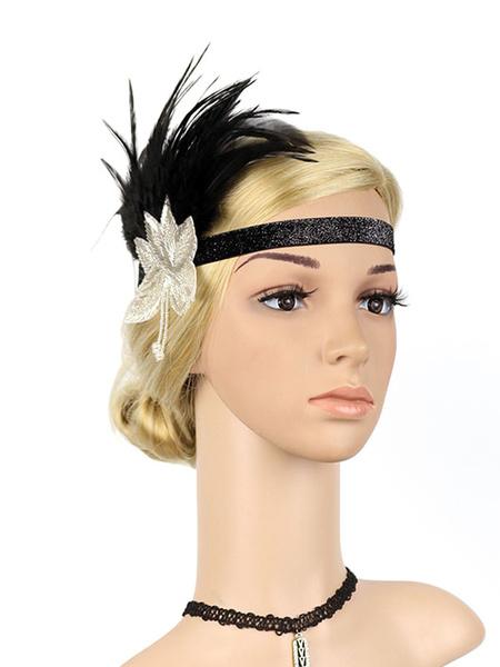 Milanoo Black Flapper Headband The Great Gatsby 1920s Costume Feather Headpieces Women Vintage Costume Accessories Halloween
