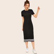 Midi T-Shirt Kleid mit Kontrast und Streifen