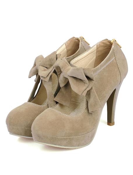 Milanoo Black High Heels Suede Platform Round Toe Bow-Adorned Mary Jane Shoes