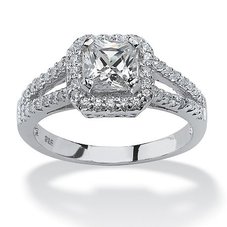 DiamonArt Womens 1 5/8 CT. T.W. White Cubic Zirconia Platinum Over Silver Square Engagement Ring, 6 , No Color Family