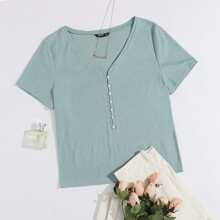 Plus Pearls Button Front Rib-knit Top