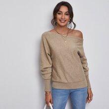 Asymmetrical Neck Batwing Sleeve Sweater