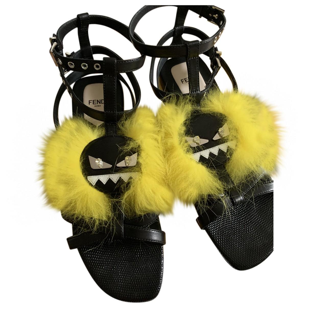 Fendi - Sandales   pour femme en cuir - noir