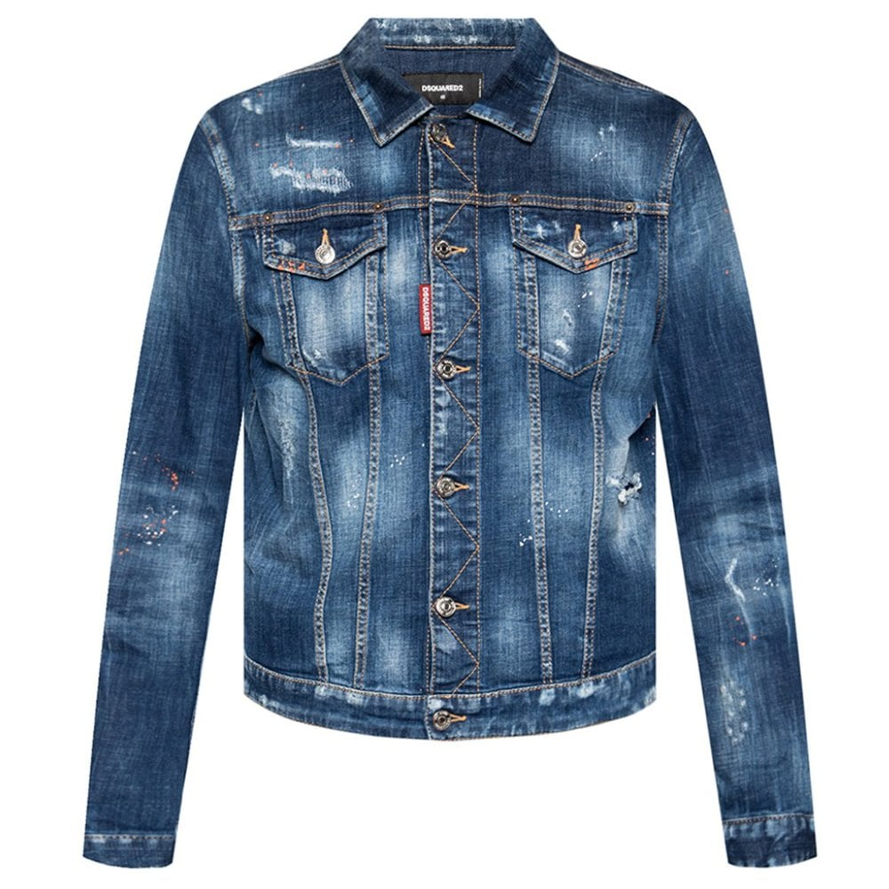 DSquared2 Distressed Denim Jacket Colour: BLUE, Size: MEDIUM