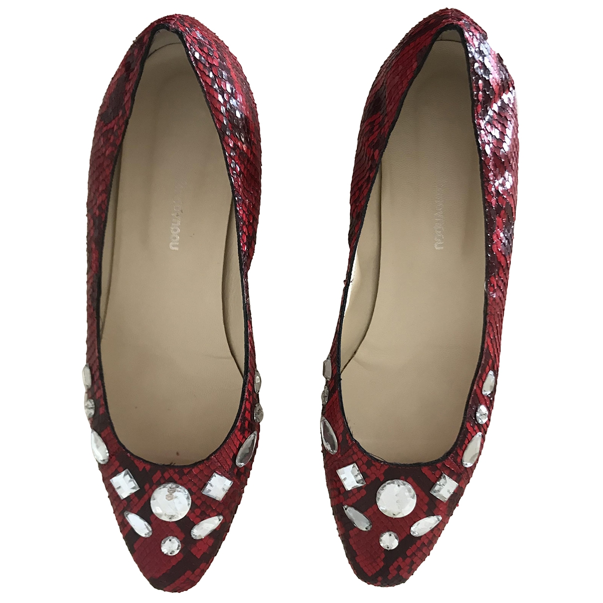 Non Signé / Unsigned \N Red Exotic leathers Ballet flats for Women 10 US