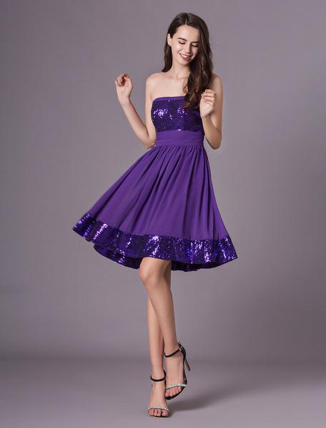 Milanoo Grape Purple Strapless Sequined Short Chiffon Dress