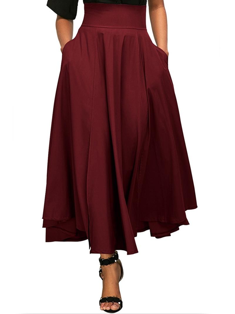 Ericdress Asymmetrical Pleated Plain Womens Skirt