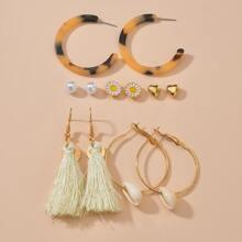 6 Paare Ohrringe mit Quasten Dekor