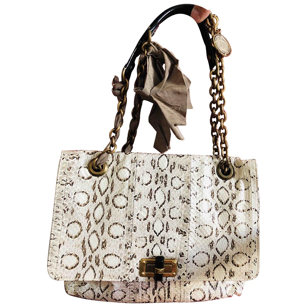 Lanvin Happy Handtasche in  Beige Python
