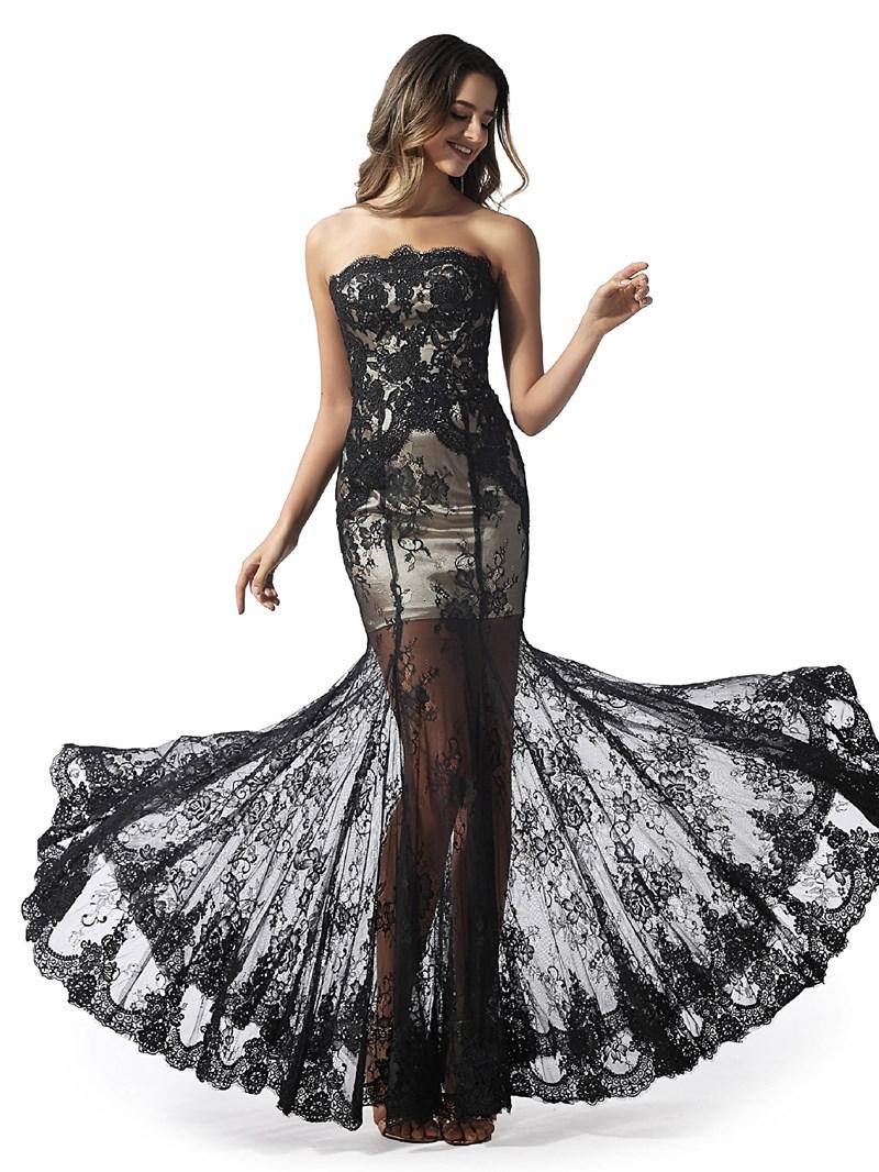 Ericdress Strapless Lace Mermaid Black Prom Dress