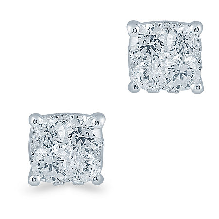 1/2 CT. T.W. Genuine White Diamond Sterling Silver 5.1mm Stud Earrings, One Size , No Color Family