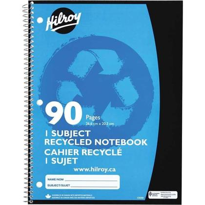 Hilroy 90 Pages1-Subject Recycled Notebook, 10-1/2